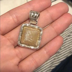 John Hardy 18k and silver  basket-weave pendant